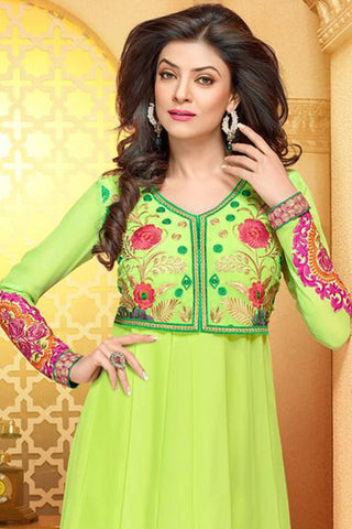 The Sushmita Sen Collection:atisundar Rudrapriya: Classy Semi stitched Salwar Kameez In Green - 4447