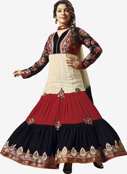 Juhi Chawla Anarkalis:atisundar   classy Bollywood Ankle Length Designer Anarkali in Cream And Red And Black  - 4468 - atisundar - 1 - click to zoom