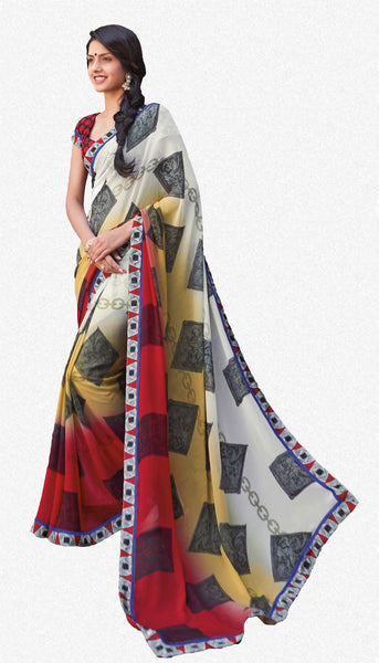 Kabiree:atisundar   charming Printed Designer Saree with Border in Red  - 4478 - atisundar - 2 - click to zoom
