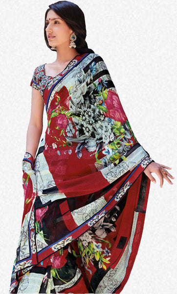 Kabiree:atisundar   fair Printed Designer Saree with Border in Red  - 4483 - atisundar - 2 - click to zoom