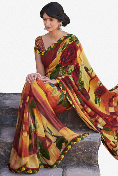 Kabiree:atisundar   fascinating Printed Designer Saree with Border in Firebrick  - 4486 - atisundar - 2 - click to zoom