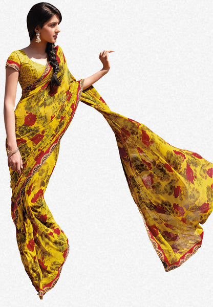 Kabiree:atisundar   appealing Printed Designer Saree with Border in Mustard   - 4491 - atisundar - 1 - click to zoom
