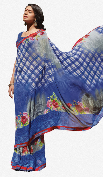 Kabiree:atisundar   refined Printed Designer Saree with Border in Royal Blue  - 4495 - atisundar - 1 - click to zoom
