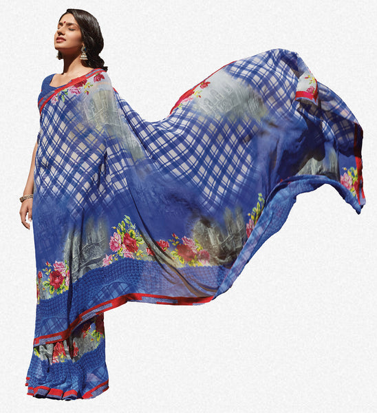 Kabiree:atisundar   refined Printed Designer Saree with Border in Royal Blue  - 4495 - atisundar - 2 - click to zoom