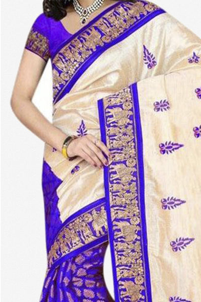 Designer Bhagalpuri Saree:atisundar Alluring Designer Printed Saree in Faux Bhagalpuri Silk in Blue  - 11126 - click to zoom