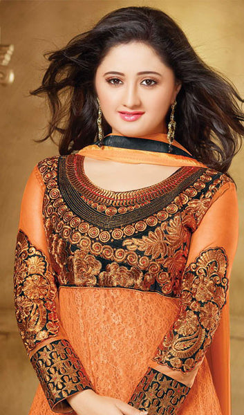 The Rashami Desai Collection:atisundar Great Black And Orange Embroidered Anarkali - 9903 - click to zoom