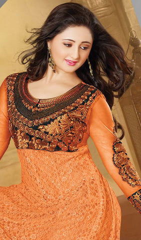 The Rashami Desai Collection:atisundar Great Black And Orange Embroidered Anarkali - 9903 - atisundar - 3