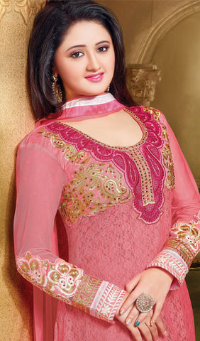 The Rashami Desai Collection:atisundar delightful Pink Embroidered Anarkali - 9904 - atisundar - 2