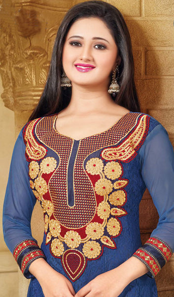 The Rashami Desai Collection:atisundar cute Blue Embroidered Anarkali - 9907 - click to zoom