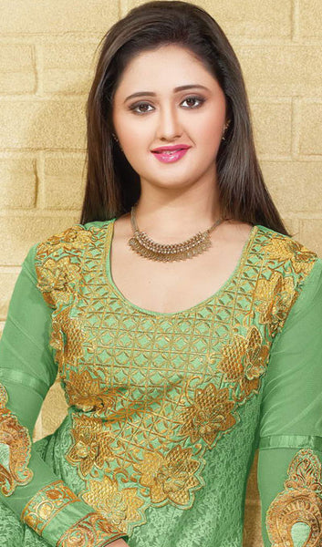 The Rashami Desai Collection:atisundar exquisite Green Embroidered Anarkali - 9908 - click to zoom