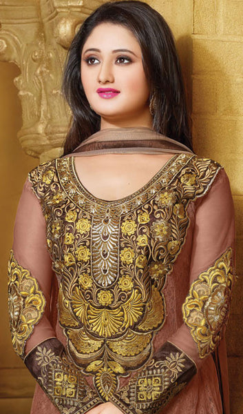 The Rashami Desai Collection:atisundar lovely Brown Embroidered Anarkali - 9909 - click to zoom
