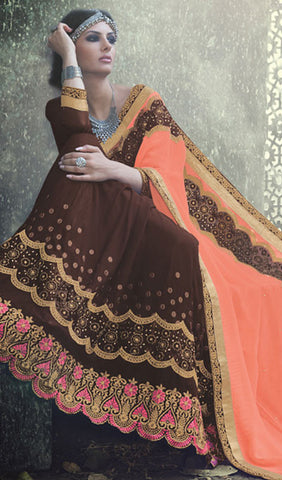 Designer Saree:atisundar appealing Designer Embroidered Saree in Brown  - 10385 - atisundar - 2