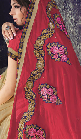 Designer Saree:atisundar Superb Designer Embroidered Saree in Red  - 10386 - atisundar - 2
