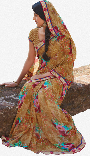 Kabiree:atisundar   cute Printed Designer Saree with Border in Sandy Brown  - 4503 - atisundar - 1 - click to zoom
