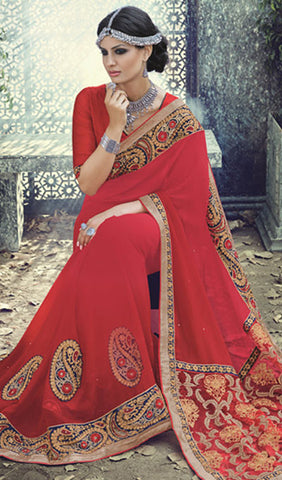 Designer Saree:atisundar delicate Designer Embroidered Saree in Red  - 10388 - atisundar - 2