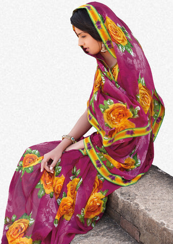 Kabiree:atisundar   graceful Printed Designer Saree with Border in Magenta  - 4506 - atisundar - 1 - click to zoom