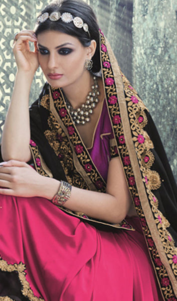 Designer Saree:atisundar wonderful Designer Embroidered Saree in Black  - 10391 - click to zoom