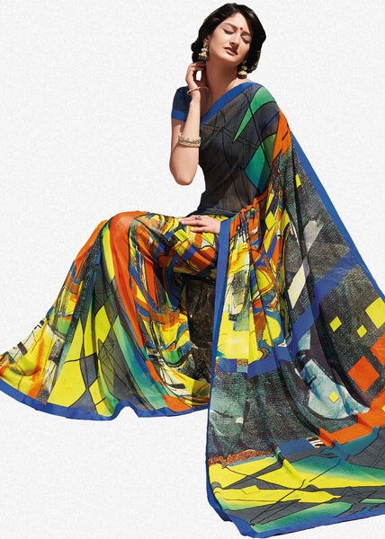 Kabiree:atisundar   Alluring Printed Designer Saree with Border in Multi  - 4509 - click to zoom