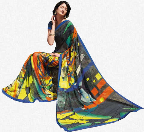 Kabiree:atisundar   Alluring Printed Designer Saree with Border in Multi  - 4509 - atisundar - 2 - click to zoom