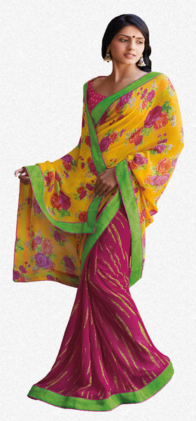 Kabiree:atisundar   Great Printed Designer Saree with Border in Yellow  - 4511 - atisundar - 1 - click to zoom