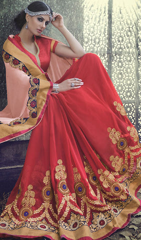 Designer Saree:atisundar cute Designer Embroidered Saree in Red  - 10396 - atisundar - 2