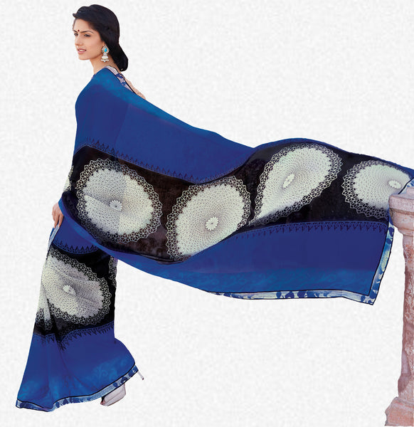 Kabiree:atisundar   refined Printed Designer Saree with Border in Royal Blue  - 4523 - atisundar - 1 - click to zoom