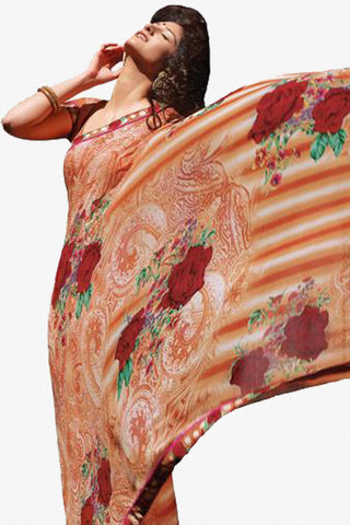 Kabiree:atisundar   admirable Printed Designer Saree with Border in Coral Orange  - 4525 - click to zoom
