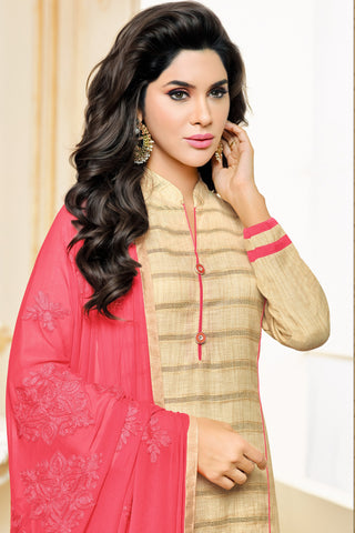 Designer Straight Cut:atisundar fascinating Beige Designer Party Wear Straight Cut in Satin Cotton - 11817 - atisundar - 4