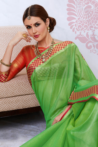 Designer Rich Look Kota Silk Saree:atisundar Beautiful Designer Party Wear Sarees in Green  - 14724