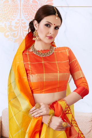 Designer Rich Look Kota Silk Saree:atisundar exquisite Designer Party Wear Sarees in Yellow  - 14726