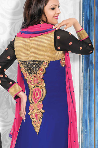 Designer Straight Cut:atisundar Attractive Royal Blue Designer Embroidered Straight Cut - 10653 - atisundar - 3