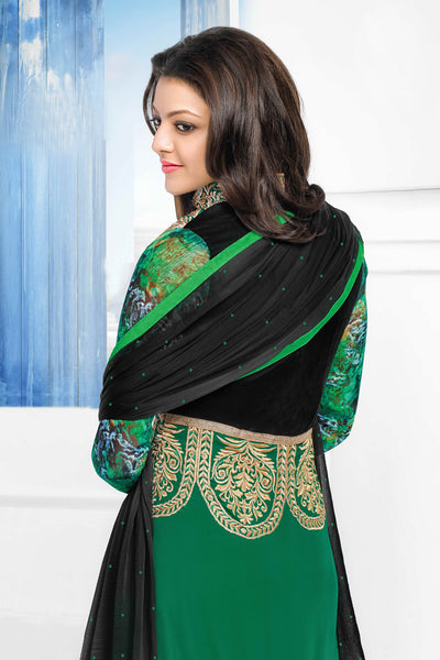 Designer Straight Cut:atisundar Beautiful Dark Green Designer Embroidered Straight Cut - 10656 - click to zoom
