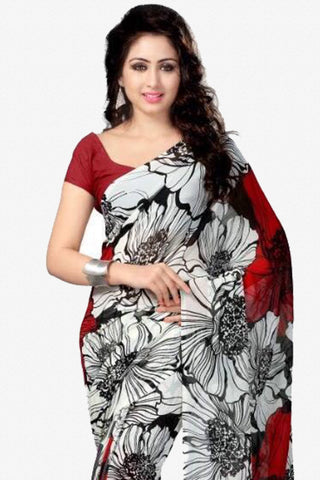 Designer Saree:atisundar Awesome Designer Party Wear Saree in White And Red  - 13773