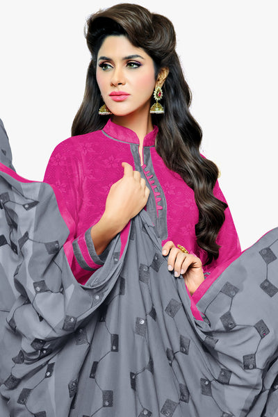 Designer Straight Cut:atisundar Beautiful Pink Designer Party Wear Straight Cut in Satin Cotton - 11818 - click to zoom