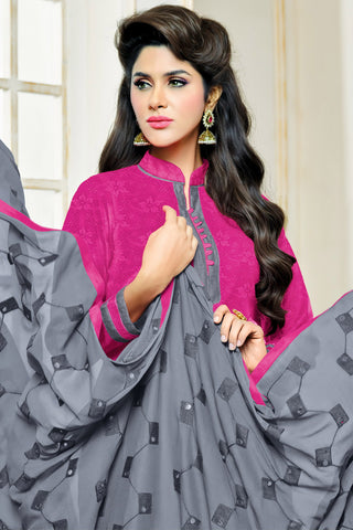 Designer Straight Cut:atisundar Beautiful Pink Designer Party Wear Straight Cut in Satin Cotton - 11818 - atisundar - 4