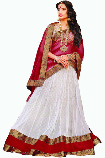 Designer Lehenga:atisundar superb Net Designer Party Wear Lehenga in White - 11842 - atisundar - 1 - click to zoom
