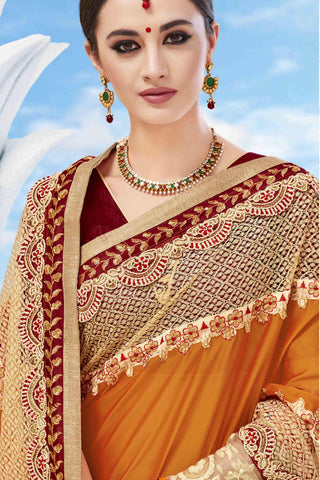 Designer Saree:atisundar delightful Designer Party Wear Saree in Orange And Cream  - 13479