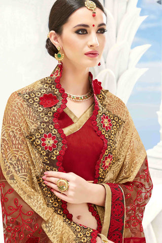 Designer Saree:atisundar radiant Designer Party Wear Saree in Red And Cream  - 13480