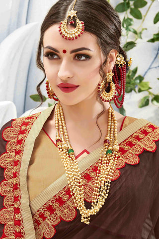Designer Saree:atisundar angelic Designer Party Wear Saree in Brown And Cream  - 13481