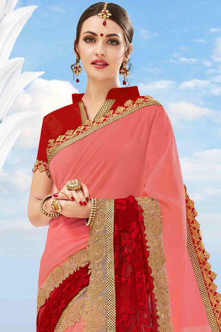 Designer Saree:atisundar delightful Designer Party Wear Saree in Peach And Red  - 13482