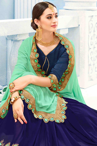 Designer Saree:atisundar admirable Designer Party Wear Saree in Blue And Green  - 13483