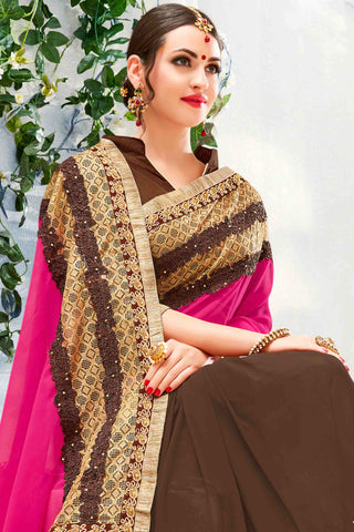 Designer Saree:atisundar fair Designer Party Wear Saree in Pink And Brown  - 13485