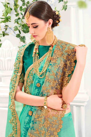 Designer Saree:atisundar stunning Designer Party Wear Saree in Green  - 13486