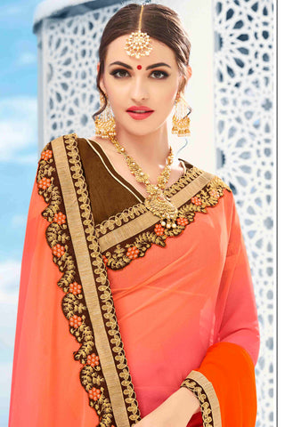 Designer Saree:atisundar graceful Designer Party Wear Saree in Peach And Brown  - 13487