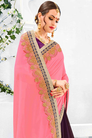 Designer Saree:atisundar marvelous Designer Party Wear Saree in Pink And Purple  - 13488
