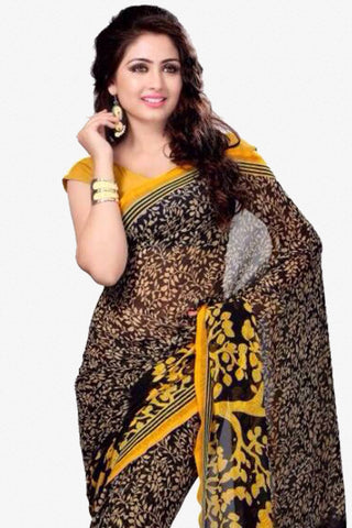 Designer Saree:atisundar classy Designer Party Wear Saree in Black And Yellow  - 13775