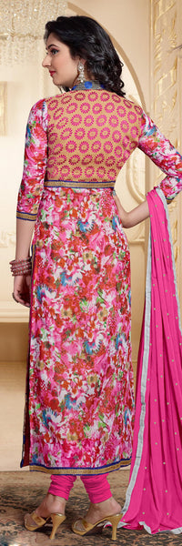 Designer Straight Cut Suit:atisundar superb Pink And Beige Designer Straight Cut  - 6666 - atisundar - 4 - click to zoom