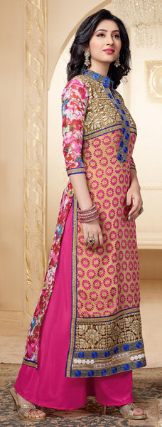 Designer Straight Cut Suit:atisundar superb Pink And Beige Designer Straight Cut  - 6666 - atisundar - 5 - click to zoom