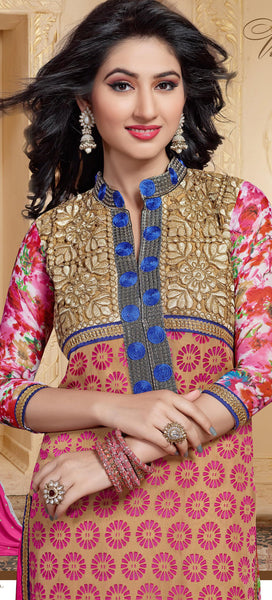 Designer Straight Cut Suit:atisundar superb Pink And Beige Designer Straight Cut  - 6666 - atisundar - 6 - click to zoom