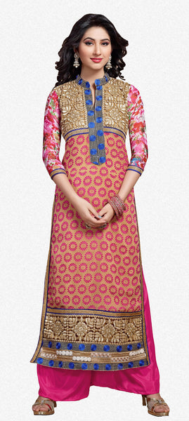 Designer Straight Cut Suit:atisundar superb Pink And Beige Designer Straight Cut  - 6666 - atisundar - 2 - click to zoom